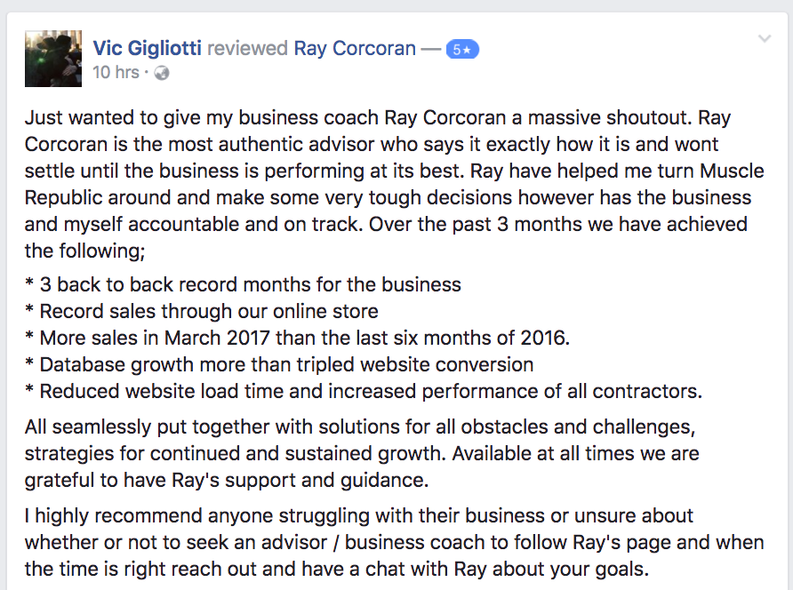 vic g ray corcoran review testimonial 5 star